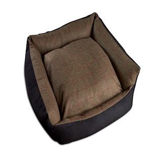 Tweed Wool Cosy Dog Bed - Olive